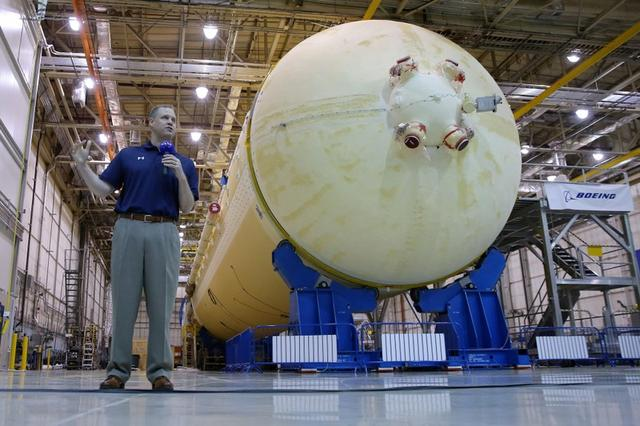 NASA Administrator Jim Bridenstine speaks to media during a visit to NASA's Michoud Assembly Facility where engineers are preparing to add the final section to the core stage of the rocket that will power NASA's Artemis 1 lunar mission, in New Orleans, Louisiana, U.S., August 15, 2019.  REUTERS/Jonathan Bachman