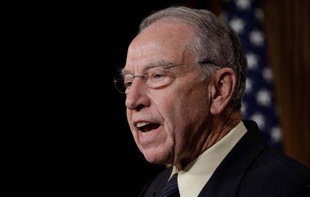 FILE PHOTO: U.S. Senate Judiciary Committee Chairman Senator Chuck Grassley (R-IA) speaks during a news conference to discuss the FBI background investigation into the assault allegations against U.S. Supreme Court nominee Judge Brett Kavanaugh on Capitol Hill in Washington, U.S., October 4, 2018. REUTERS/Yuri Gripas