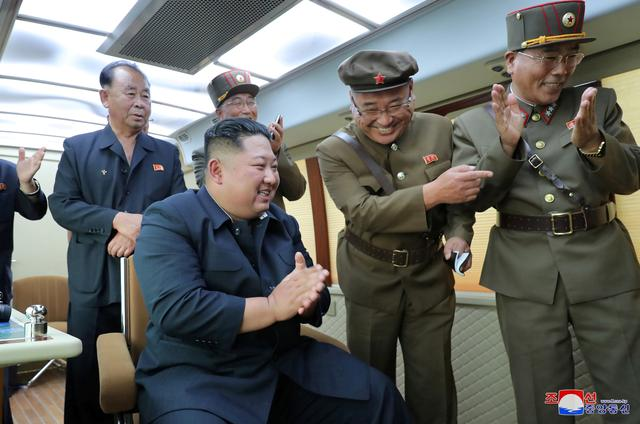 North Korean leader Kim Jong Un guides the test firing of a new weapon, in this undated photo released on August 16, 2019 by North Korea's Korean Central News Agency (KCNA).  KCNA via REUTERS