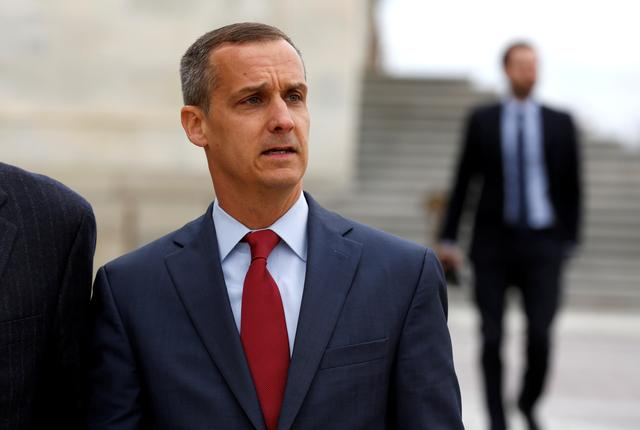 FILE PHOTO: Former Trump campaign manager Corey Lewandowski departs after appearing before the House Intelligence Committee on Capitol Hill in Washington, U.S., March 8, 2018.      REUTERS/Joshua Roberts/File Photo