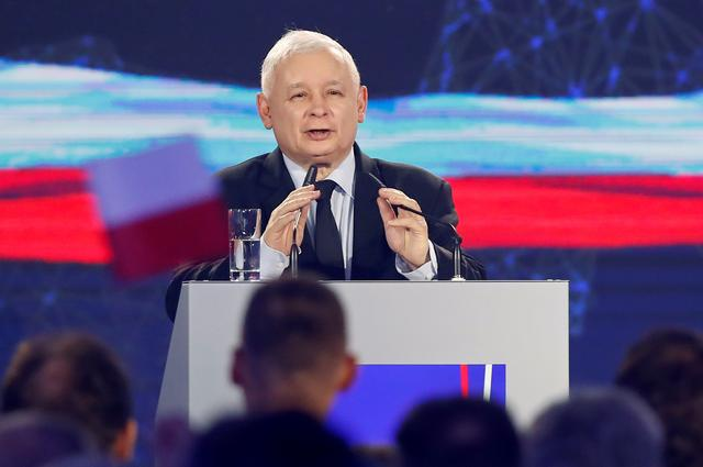 FILE PHOTO: Poland's Law and Justice (PiS) leader Jaroslaw Kaczynski speaks during a party convention ahead of the EU election, in Krakow, Poland May 19, 2019. REUTERS/Kacper Pempel/File Photo