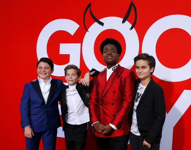 "FILE PHOTO: Cast members Keith L. Williams, Jacob Tremblay, Brady Noon and Chance Hurstfield at the premiere for the film ""Good Boys"" in Los Angeles, California, U.S., August 14, 2019. REUTERS/Mario Anzuoni/File Photo"