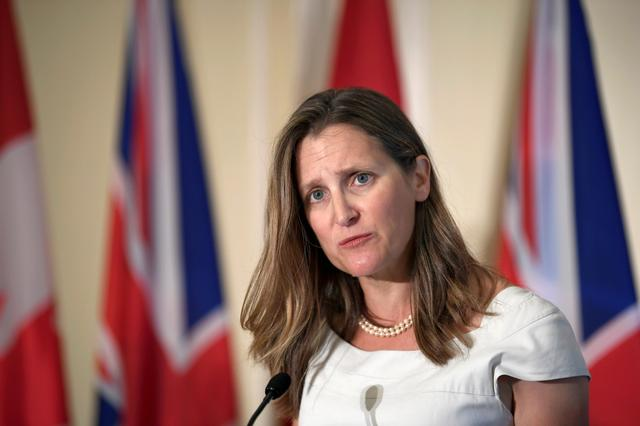FILE PHOTO: Canada's Foreign Minister Chrystia Freeland at a news conference following a meeting with Britain's Foreign Secretary Dominic Raab in Toronto, Ontario, Canada, August 6, 2019.  REUTERS/Moe Doiron/File Photo