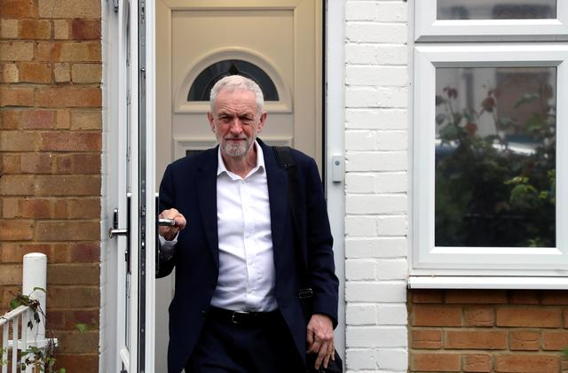 FILE PHOTO: Britain's opposition Labour Party leader Jeremy Corbyn leaves his home, as Brexit uncertainty continues, in London, Britain April 8, 2019. REUTERS/Simon Dawson