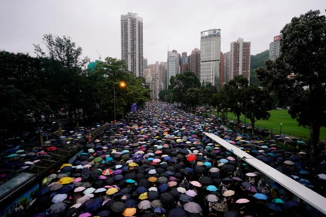 Anti-extradition bill protesters march to demand democracy and political reforms, in Hong Kong, China August 18, 2019. REUTERS/Aly Song