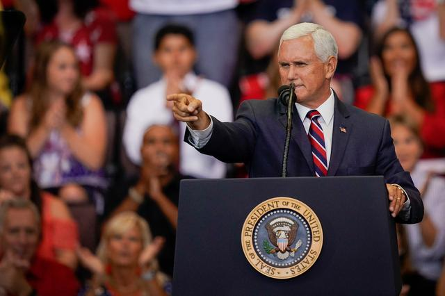 FILE PHOTO: U.S. Vice President Mike Pence gestures to supporters at a campaign rally for U.S. President Donald Trump in Cincinnati, Ohio. U.S., August 1, 2019.   REUTERS/Bryan Woolston