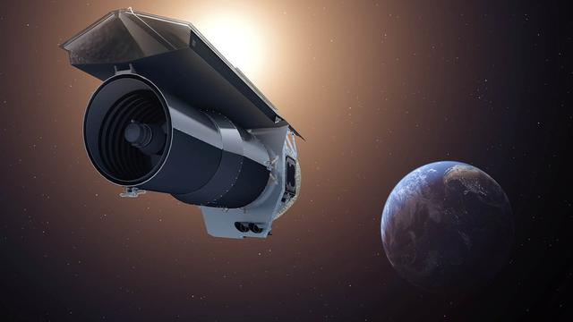 """An artist's conception shows NASA's Spitzer Space Telescope as it begins its """"Beyond"""" mission phase on Oct. 1, 2016.   NASA/JPL-Caltech/T. Pyle (IPAC)/Handout via REUTERS"""
