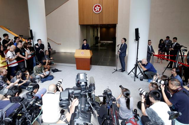 Hong Kong's Chief Executive Carrie Lam holds a news conference in Hong Kong, China, August 20, 2019. REUTERS/Ann Wang