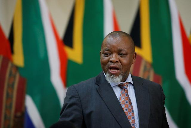 Gwede Mantashe arrives to be sworn in as South Africa's Minister for Mineral Resources and Energy in Pretoria, South Africa, May 30, 2019. REUTERS/Siphiwe Sibeko