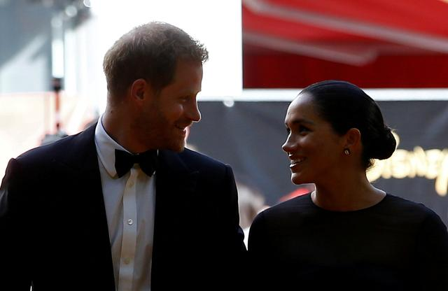 """FILE PHOTO: Britain's Prince Harry and Meghan, Duchess of Sussex attend the European premiere of """"The Lion King"""" in London, Britain July 14, 2019. REUTERS/Henry Nicholls/File Photo"""