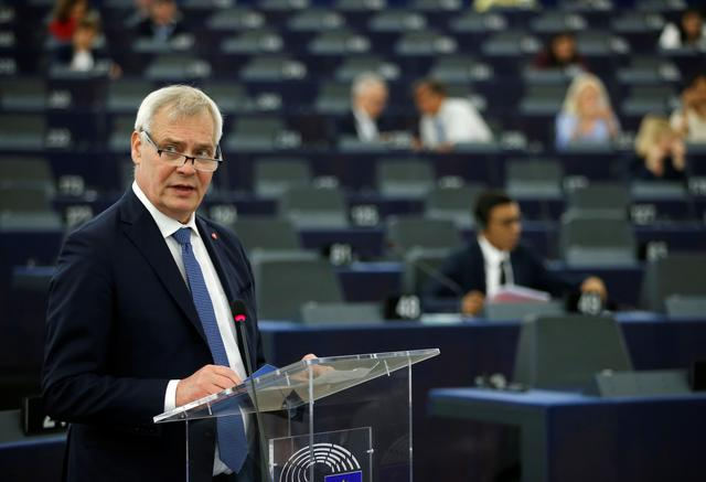 Finland's Prime Minister Antti Rinne delivers a speech during a debate on the program of the Finnish presidency of the EU for the next six month at the European Parliament in Strasbourg, France , July 17, 2019.   REUTERS/Vincent Kessler