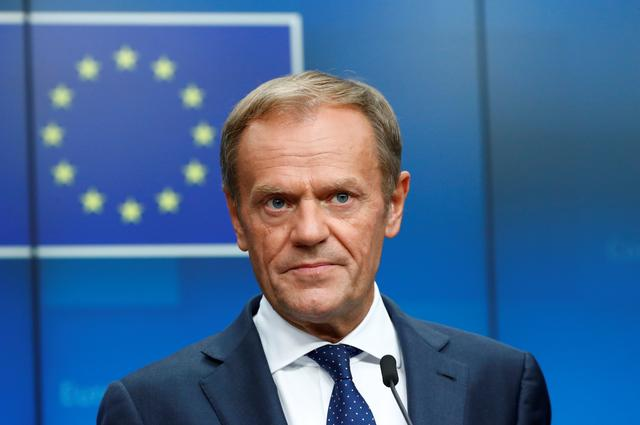 FILE PHOTO: European Council President Donald Tusk attends a news conference after the European Union leaders summit, in Brussels, Belgium, July 2, 2019. REUTERS/Francois Lenoir