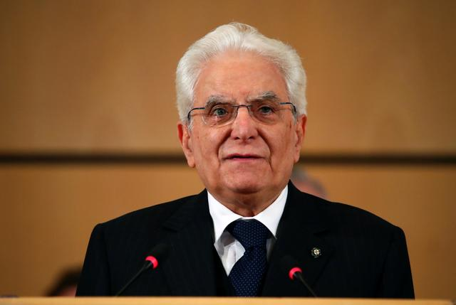 FILE PHOTO: Italy's President Sergio Mattarella speaks during the opening day of the International Labour Organization's annual labour conference in Geneva, Switzerland June 10, 2019. REUTERS/Denis Balibouse