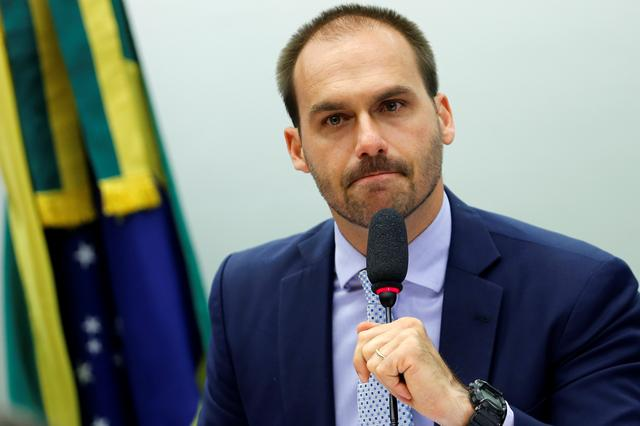 Brazilian Federal Deputy Eduardo Bolsonaro attends a session of the Committee on Foreign Affairs and National Defense of the Chambers of Deputies in Brasilia, Brazil August 21, 2019. REUTERS/Adriano Machado