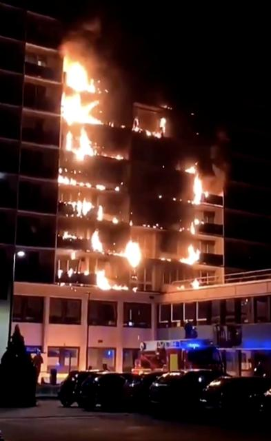 Fire burns in the Henri Mondor hospital complex in Creteil, on the outskirts of Paris, France, August 22, 2019, in this still image taken from a social media video. LIMAM ALISTAIR via REUTERS