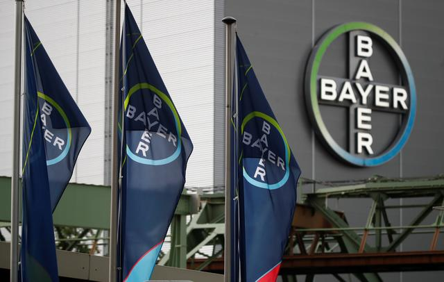 FILE PHOTO: Logo and flags of Bayer AG are pictured outside a plant of the German pharmaceutical and chemical maker in Wuppertal, Germany August 9, 2019. REUTERS/Wolfgang Rattay