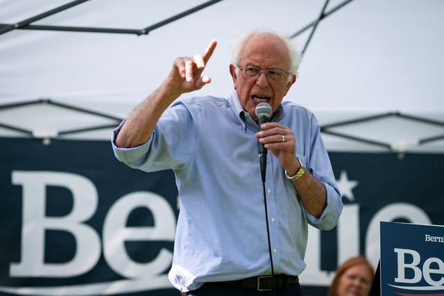 FILE PHOTO: 2020 Democratic U.S. presidential candidate and U.S. Senator Bernie Sanders speaks during a campaign event in West Branch, Iowa, U.S., August 19, 2019. REUTERS/Al Drago