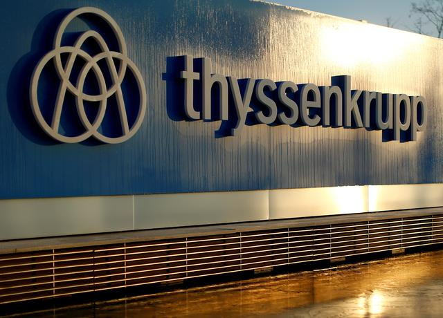 FILE PHOTO: A logo of Thyssenkrupp AG is pictured at the company's headquarters in Essen, Germany, November 21, 2018. REUTERS/Thilo Schmuelgen