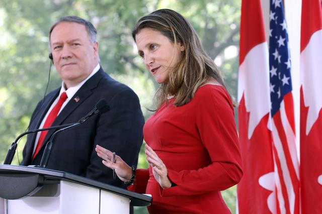 Canada's Foreign Minister Chrystia Freeland speaks during a news conference with U.S. Secretary of State Mike Pompeo in Ottawa, Ontario, Canada, August 22, 2019. REUTERS/Chris Wattie