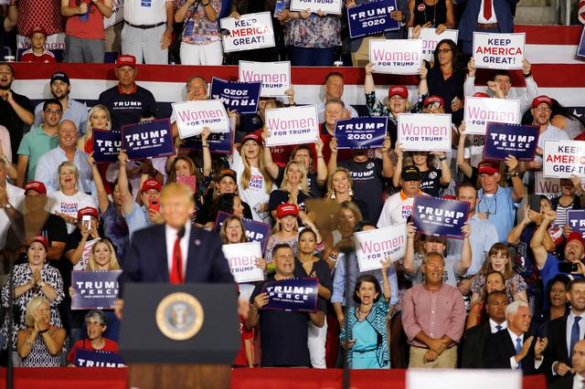 FILE PHOTO: Supporters of U.S. President Donald Trump cheer for him at a campaign rally in Greenville, North Carolina, U.S., July 17, 2019.   REUTERS/Jonathan Drake/File Photo