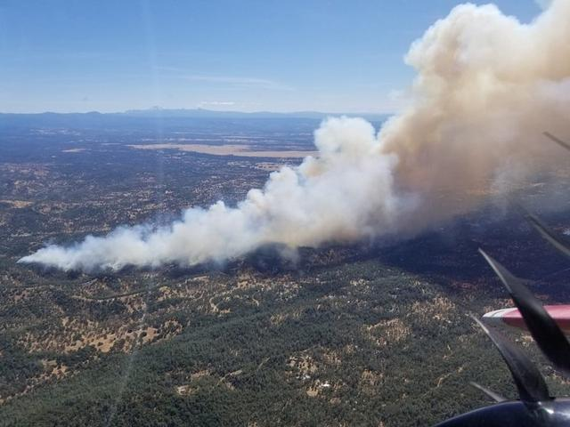 An aerial view of the Mountain Fire in Shasta County, California, U.S. is seen in this image obtained via social media August 22, 2019. CAL FIRE SHASTA TRINITY UNIT AND SHASTA COUNTY FIRE DEPARTMENT /via REUTERS