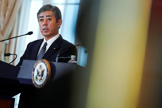 FILE PHOTO: Japanese Defense Minister Takeshi Iwaya speaks to the media at the State Department in Washington, U.S., April 19, 2019.      REUTERS/Joshua Roberts