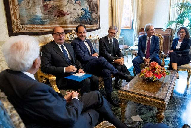 FILE PHOTO: Democratic Party leadership members Nicola Zingaretti, Andrea Marcucci, Graziano Delrio, Paolo Gentiloni and Paola De Micheli meet with Italian President Sergio Mattarella for consultations in Rome, Italy, August 22, 2019. Paolo Giandotti/Presidential Palace/Handout via REUTERS