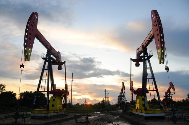 Pumpjacks are seen during sunset at the Daqing oil field in Heilongjiang province, China August 22, 2019. REUTERS/Stringer
