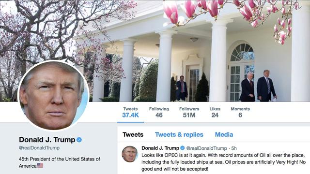 FILE PHOTO: The masthead of U.S. President Donald Trump's @realDonaldTrump Twitter account with a message about OPEC policy is seen on April 20, 2018.  @realDonaldTrump/Handout via REUTERS