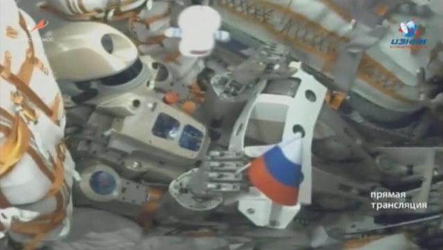 A still image, taken from a video footage and released by Russian space agency Roscosmos, shows robot Skybot F-850, also known as FEDOR, inside the Russian Soyuz MS-14 spacecraft carried by Soyuz-2.1a booster after the launch from the Baikonur Cosmodrome, Kazakhstan August 22, 2019. Russian space agency Roscosmos/Handout via REUTERS