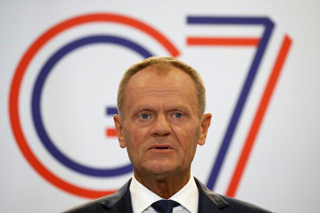 European Council President Donald Tusk speaks during a news conference on the margins of the G7 summit in Biarritz, France, August 24, 2019.  REUTERS/Christian Hartmann