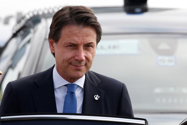 Italy's acting Prime Minister Giuseppe Conte arrives at Biarritz airport in Anglet for the G7 summit, France, August 24, 2019. REUTERS/Regis Duvignau