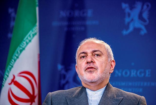 Iran's Foreign Minister Javad Zarif attends a joint news conference after meeting with Norway's Foreign Minister Ine Eriksen Soereide in Oslo, Norway, August 22, 2019. NTB Scanpix/Stian Lysberg Solum/ via REUTERS ATTENTION EDITORS - THIS IMAGE WAS PROVIDED BY A THIRD PARTY. NORWAY OUT. NO COMMERCIAL OR EDITORIAL SALES IN NORWAY.