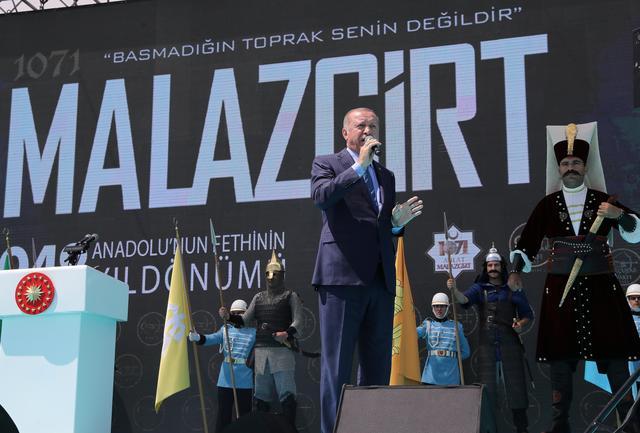 Turkish President Tayyip Erdogan speaks during a ceremony in Malazgirt in Mus province, Turkey, August 26, 2019. Cem Oksuz/Presidential Press Office/Handout via REUTERS