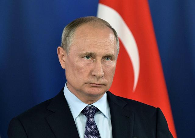 FILE PHOTO: Russian President Vladimir Putin attends a news conference with his Turkish counterpart Recep Tayyip Erdogan at the MAKS 2019 air show in Zhukovsky, outside Moscow, Russia, August 27, 2019.  Sputnik/Aleksey Nikolskyi/Kremlin via REUTERS