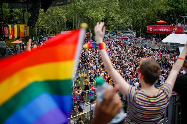 FILE PHOTO: People dance during the Youth Pride event as part of World Pride and Stonewall anniversary in New York, U.S., June 29, 2019.  REUTERS/Eduardo Munoz