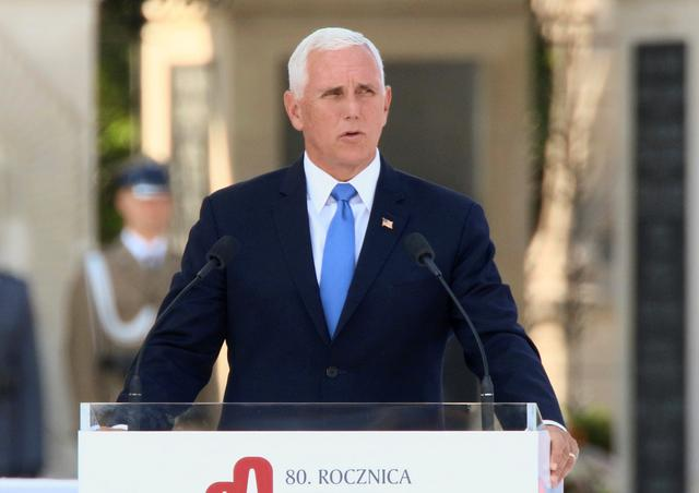 U.S. Vice President Mike Pence delivers a speech during a commemorative ceremony to mark the 80th anniversary of the outbreak of World War Two in Warsaw, Poland September 1, 2019. Slawomir Kaminski/Agencja Gazeta via REUTERS
