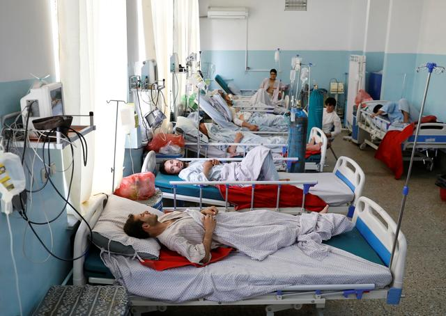 Injured men receive treatment at the hospital after a blast in Kabul, Afghanistan, September 3, 2019. REUTERS/Mohammad Ismail