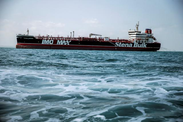 FILE PHOTO: Stena Impero, a British-flagged vessel owned by Stena Bulk, is seen at undisclosed place off the coast of Bandar Abbas, Iran August 22, 2019. Nazanin Tabatabaee/WANA (West Asia News Agency) via REUTERS/File Photo