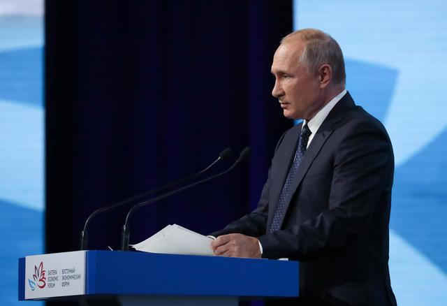 Russian President Vladimir Putin delivers a speech during a plenary session of the Eastern Economic Forum in Vladivostok, Russia September 5, 2019. Sputnik/Mikhail Klimentyev/Kremlin via REUTERS  ATTENTION EDITORS - THIS IMAGE WAS PROVIDED BY A THIRD PARTY.