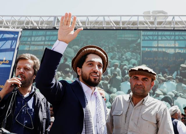 Ahmad Massoud, son of the slain hero of the anti-Soviet resistance Ahmad Shah Massoud, waves as he arrives to attend a new political movement in Bazarak, Panjshir province Afghanistan September 5, 2019. Picture taken September 5, 2019.REUTERS/Mohammad Ismail