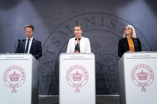 Denmark's Prime Minister Mette Frederiksen, Foreign Minister Jeppe Kofod and Defense Minister Trine Bramsen attend a news conference in the Prime Minister's Office in Copenhagen, Denmark, September 6, 2019.  Ritzau Scanpix/Niels Christian Vilmann/via REUTERS
