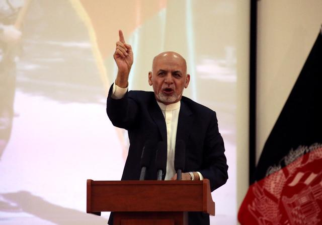 Afghanistan's President Ashraf Ghani speaks during an event with Afghan security forces in Kabul, Afghanistan September 9, 2019. REUTERS/Omar Sobhani