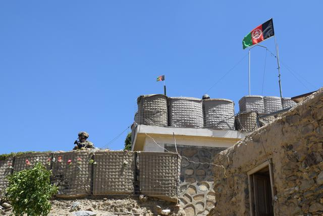 An advisor from the 2nd Security Force Assistance Brigade stands at the fortification of a base during deployment to Afghanistan June 13, 2019.  Courtesy Maj. Jonathan Camire/U.S. Army/Handout via REUTERS
