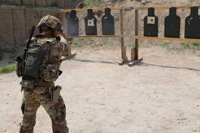 Advisors from the 2nd Security Force Assistance Brigade conduct marksmanship training during their deployment to Afghanistan April 9, 2019.  Courtesy Sgt. Jordan Trent/U.S. Army/Handout via REUTERS