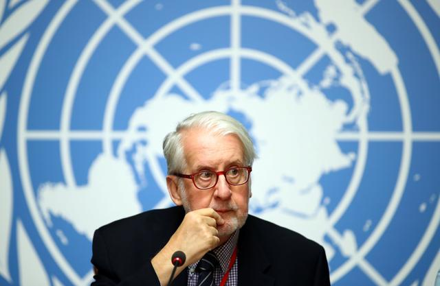 Paulo Pinheiro, Chairperson of the Commission of Inquiry on Syria attends a news conference during the Human Rights Council at the United Nations in Geneva, Switzerland, September 11, 2019. REUTERS/Denis Balibouse