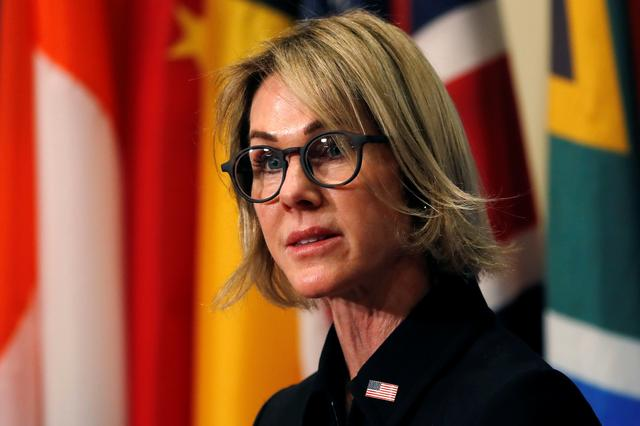 New U.S. Ambassador to the United Nations Kelly Craft speaks to reporters after attending her first U.N. Security Council meeting at U.N. headquarters in New York, U.S. September 12, 2019. REUTERS/Mike Segar