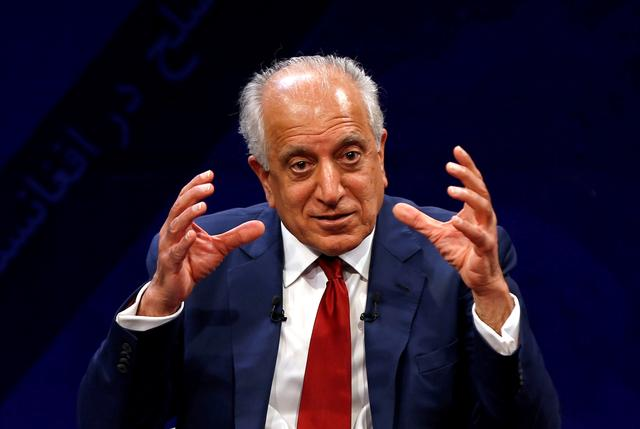 FILE PHOTO: U.S. envoy for peace in Afghanistan Zalmay Khalilzad speaks during a debate at Tolo TV channel in Kabul, Afghanistan April 28, 2019. REUTERS/Omar Sobhani/File Photo