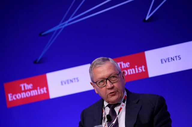 """FILE PHOTO - European Stability Mechanism Managing Director Klaus Regling speaks during the 23rd Economist Roundtable with the Government of Greece on """"Europe: leaving indecisiveness behind?"""", in Lagonissi, near Athens, Greece, July 16, 2019. REUTERS/Alkis Konstantinidis"""