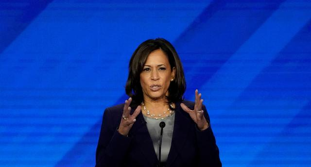 FILE PHOTO: Senator Kamala Harris speaks during the 2020 Democratic U.S. presidential debate in Houston, Texas, U.S. September 12, 2019. REUTERS/Mike Blake/File Photo
